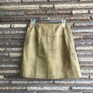 Vintage Tan Leather Mini Skirt Kelita